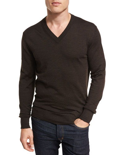 Merino Wool V-Neck Sweater, Brown