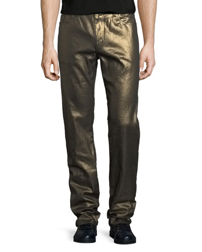 Metallic 5-Pocket Skinny Jeans