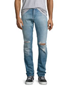 Paxtyn Distressed Skinny Jeans, Medium Blue
