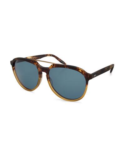 Bugler Universal-Fit Brow-Bar Sunglasses, Mottled Amber Tortoise/Brushed ...