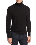 Cashmere-Silk Ribbed Turtleneck