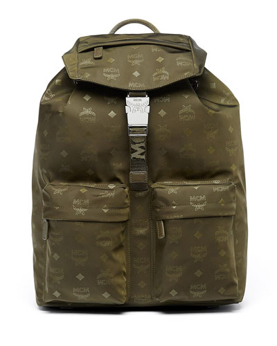 Dieter Monogramed Canvas Backpack, Green