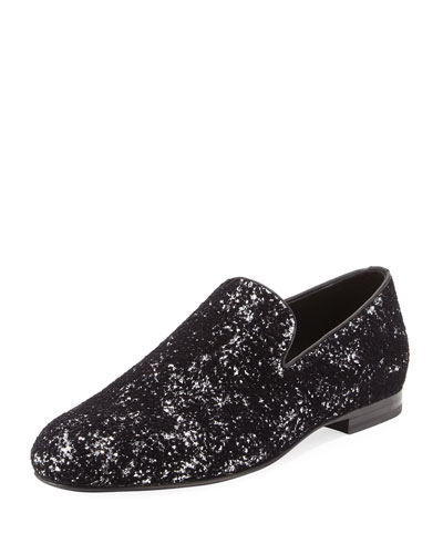 Sloane Men's Coarse Glitter Velvet Slipper, Black/Silver