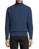 Brushed Cashmere Ribbed Turtleneck Sweater