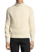 Cashmere-Wool Basketweave Turtleneck Sweater