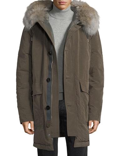 Water-Resistant Fur-Trim Down Jacket
