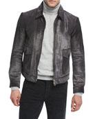 Calf Hair Zip-Front Jacket