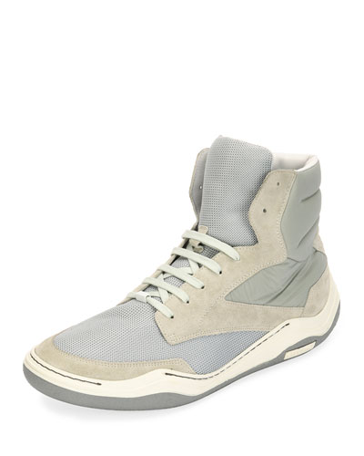 Men's Mesh & Suede Indoor High-Top Sneaker, Light Gray