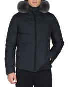 Reversible Monster Down Ski Jacket with Fur Trim, Blue/Black