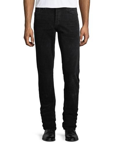 5-Pocket Straight-Leg Corduroy Pants, Worn Charcoal