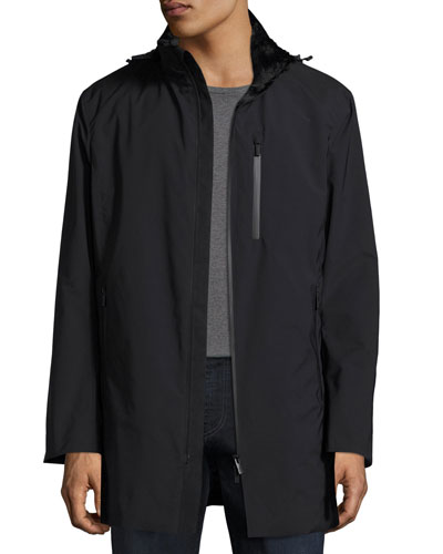 Hooded Zip-Front 3/4-Length Coat, Black