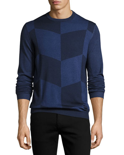 Enlarged-Chevron Virgin Wool Crewneck Sweater, Blue