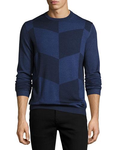 Enlarged-Chevron Virgin Wool Crewneck Sweater, Blue