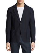 Textured Mesh Two-Button Blazer, Navy Blue