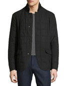 Quilted Wool Short Jacket, Charcoal