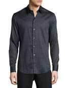 Scale-Cut Square Cotton Sport Shirt, Gray