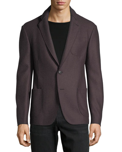 Boiled Wool-Blend Soft Jacket, Dark Red