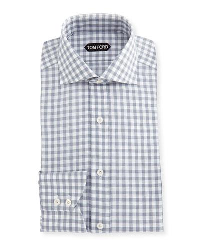 Check Cotton-Linen Dress Shirt
