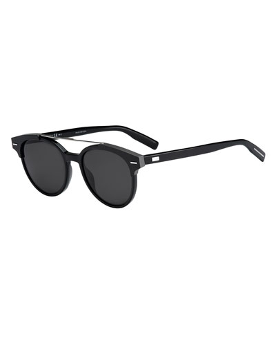Black Tie Round Metal-Bar Sunglasses