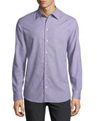 Neat Mini-Gingham Cotton Shirt, Blue