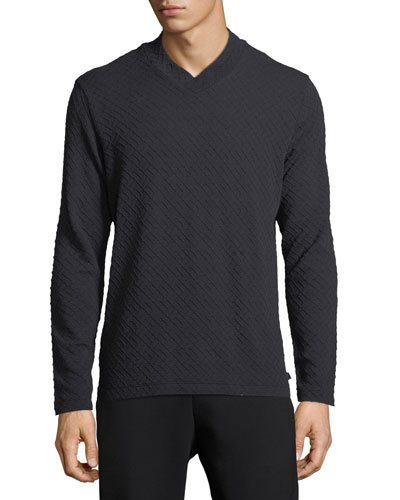 Textured Geometric V-Neck Sweater