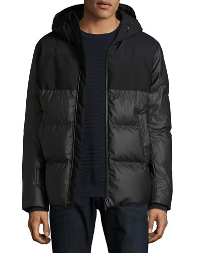 Microfiber Hooded Puffer Jacket, Black