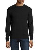 Geometric Crewneck Sweater, Black