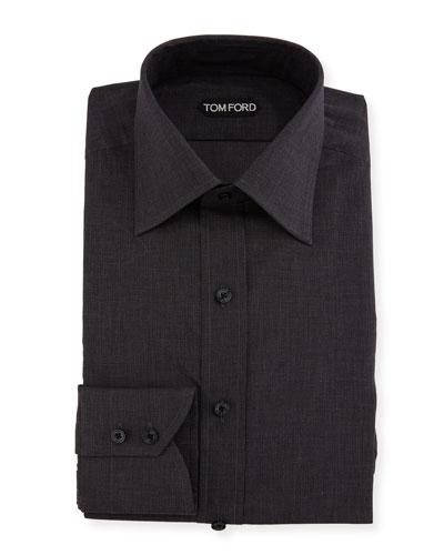 Slim-Fit Tonal Check Dress Shirt, Charcoal