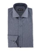 Slim-Fit Tonal Check Dress Shirt
