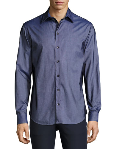Flocked-Stripe Sport Shirt, Navy