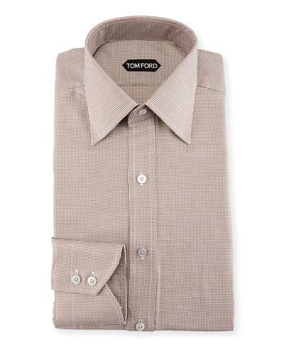 Slim-Fit Mini-Houndstooth Dress Shirt