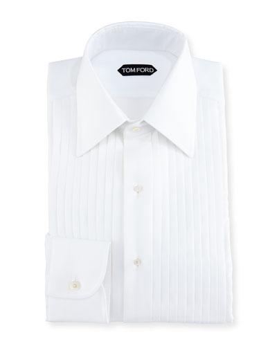 Slim-Fit Pleated Tuxedo Shirt