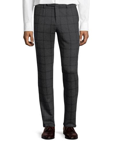 Windowpane Jersey Trousers