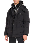 Down Coat with Logo Hood, Black