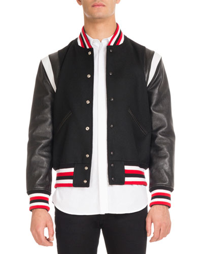 Striped Bomber Jacket with Leather Sleeves, Black
