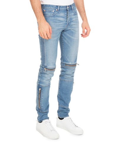 Biker Denim Skinny Jeans with Zippers, Blue