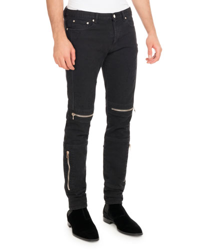 Distressed Denim Biker Skinny Jeans, Black