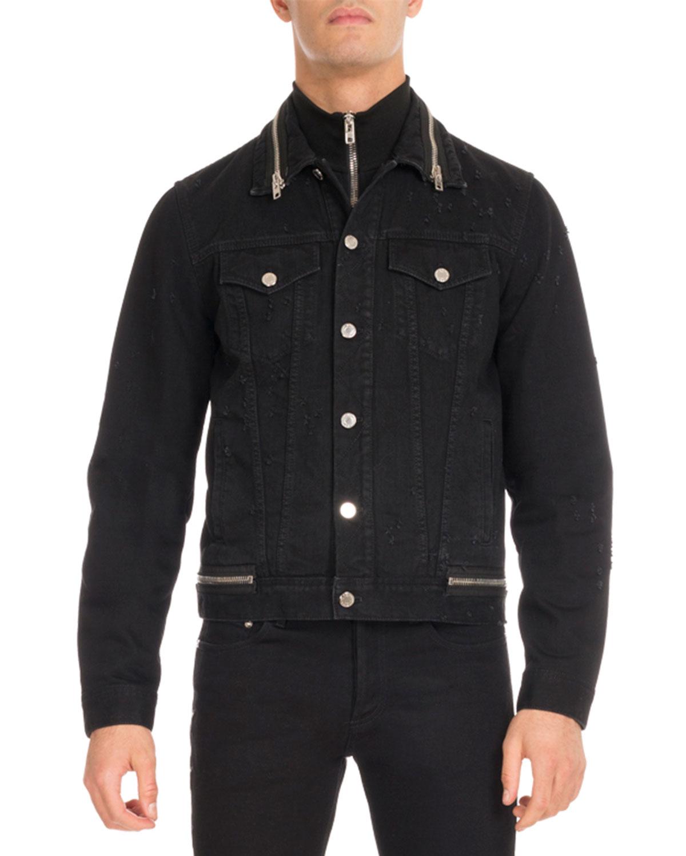 Distressed Denim Trucker Jacket, Black
