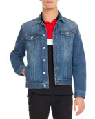 Logo-Print Denim Trucker Jacket, Blue
