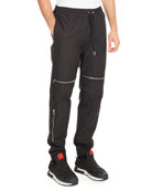 Moto Jogger Pants with Zippers, Black