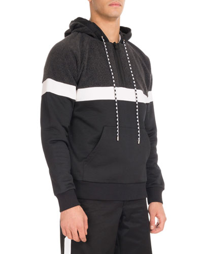 Colorblock Quarter-Zip Hoodie, Charcoal