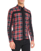 Plaid Shirt with Contrast Cross, Red
