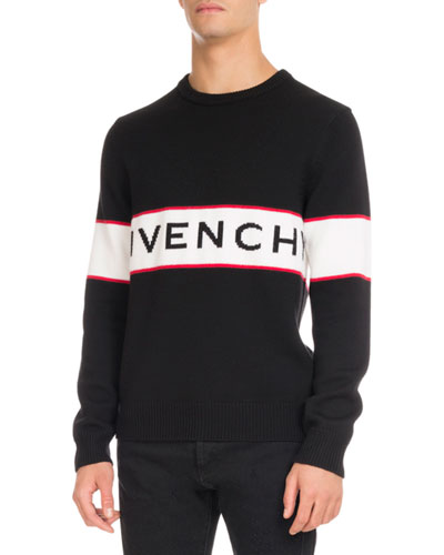Logo-Stripe Wool Sweater, Black