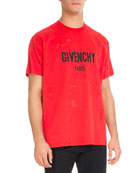 Columbian-Fit Distressed Logo T-Shirt, Red