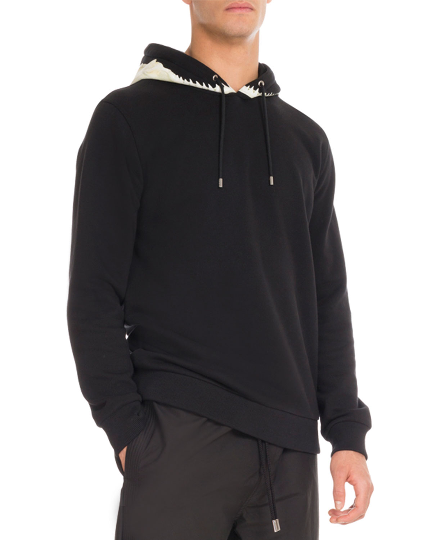 Shark-Tooth Hoodie Sweatshirt, Black