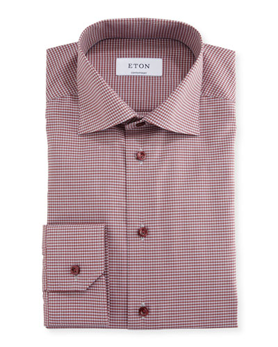 Contemporary-Fit Check Dress Shirt, Red