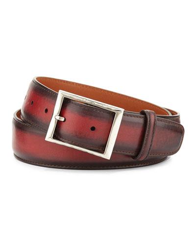 Venezia Leather Belt, Red
