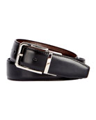 Versatile 35mm Reversible Leather Belt, Black Knight/Tobacco Bis