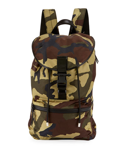 Camo-Print Nylon Backpack, Multicolor