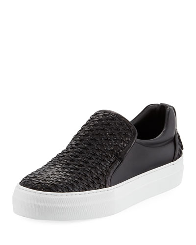 40mm Men's Woven Leather Slip-On Sneaker, Black